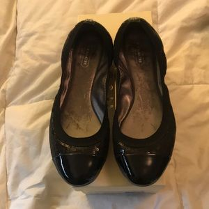Coach Black Sequin/Patent Leather Flats. Size 7